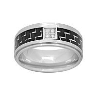 Diamond Accent Stainless Steel & Carbon Fiber Geometric Band - Men