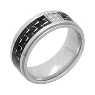 Diamond Accent Stainless Steel & Carbon Fiber Geometric Band - Men
