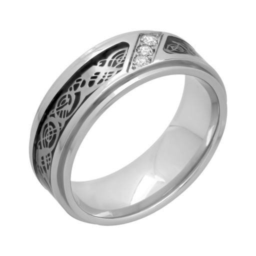 1/10 Carat T.W. Diamond Stainless Steel & Carbon Fiber Celtic Dragon Band - Men