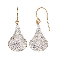 Crystal 14k Gold Over Silver Teardrop Earrings