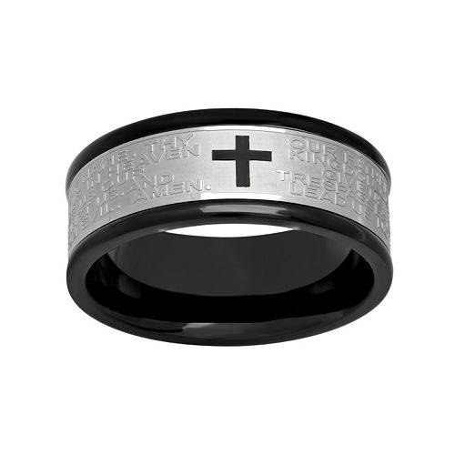 """Stainless Steel Two Tone """"The Lord's Prayer"""" Band - Men"""