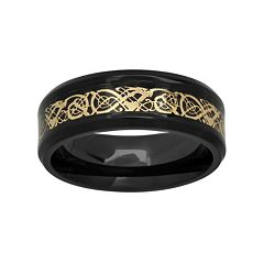 Black & Yellow Ion-Plated Stainless Steel Celtic Dragon Band - Men