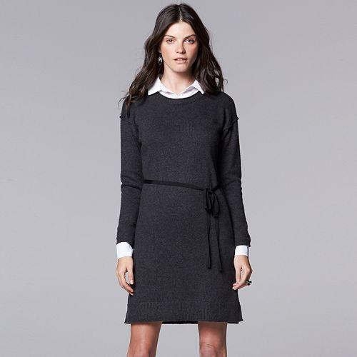 c4f9dc03662 Women s Simply Vera Vera Wang Mock-Layer Sweater Dress