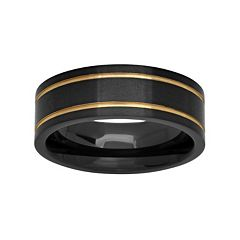 Black & Yellow Ion-Plated Stainless Steel Double Groove Band - Men