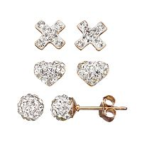 Crystal 14k Gold Over Silver Cross, Heart & Ball Stud Earring Set