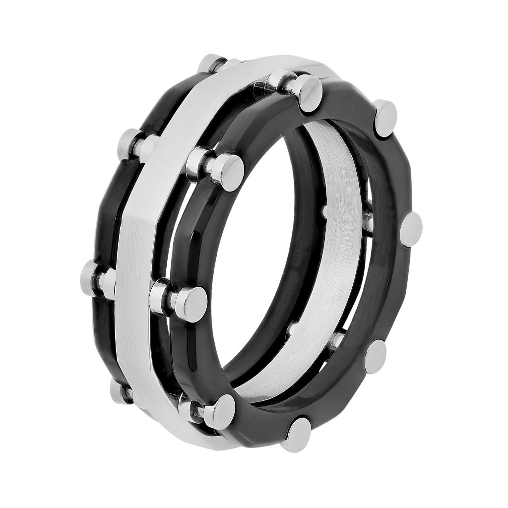 Stainless Steel Two Tone Riveted Band - Men