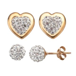 Crystal 14k Gold Over Silver Heart & Ball Stud Earring Set