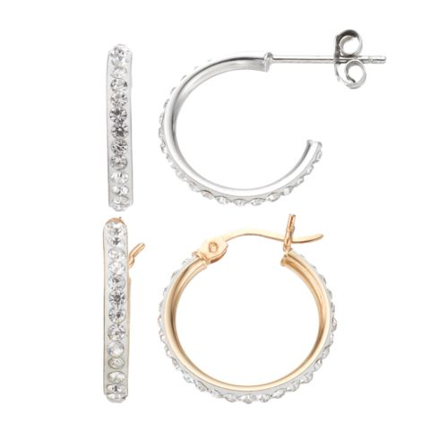 Crystal 14k Gold Over Silver & Sterling Silver Hoop Earring Set