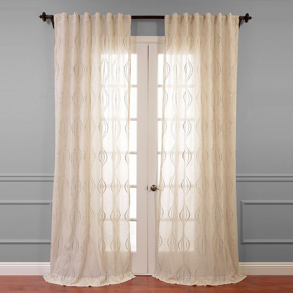 EFF Suez Embroidered Sheer Window Curtain - 50'' x 84''