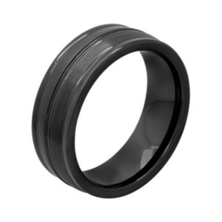 Black Ion-Plated Ceramic Double Row Band - Men