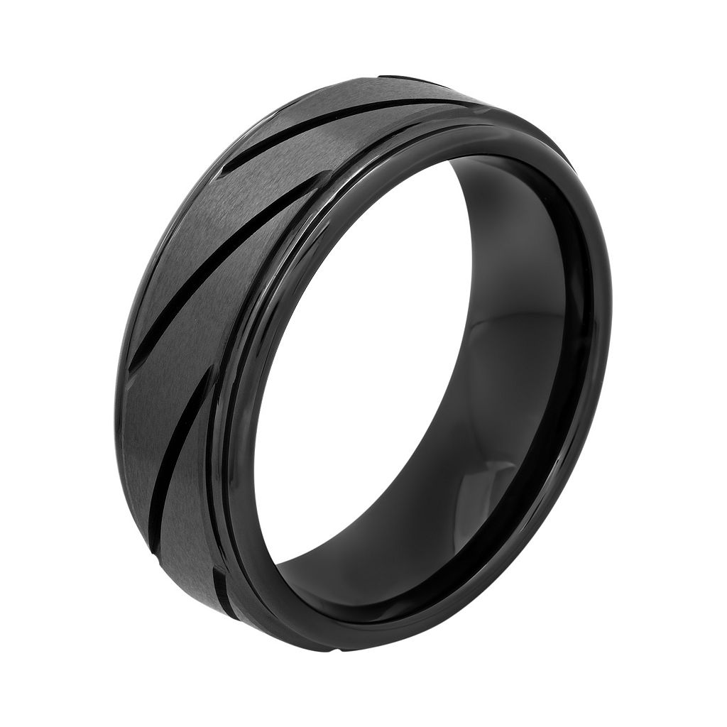 Black Ion-Plated Ceramic Slant Groove Band - Men