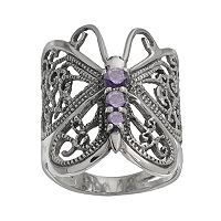 Sterling Silver Purple Cubic Zirconia Butterfly Ring