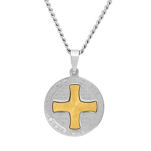 """Stainless Steel Two Tone """"The Lord's Prayer"""" Medal Pendant Necklace - Men"""