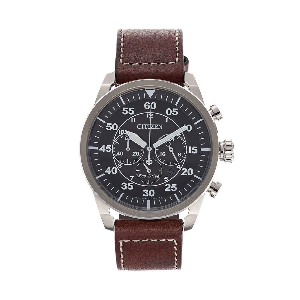 Citizen Eco-Drive Men's Avion Leather Chronograph Watch - CA4210-24E