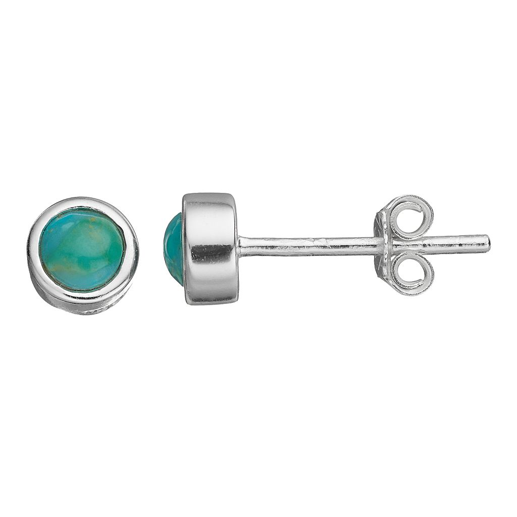 Itsy Bitsy Sterling Silver Simulated Turquoise Stud Earrings