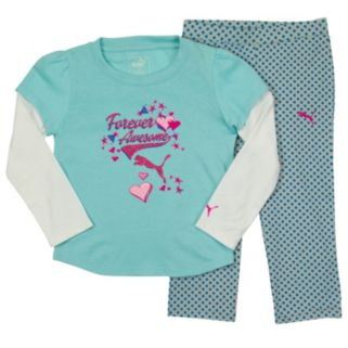 """Toddler Girl PUMA """"Forever Awesome"""" Mock-Layer Tee & Polka-Dot French Terry Pants Set"""