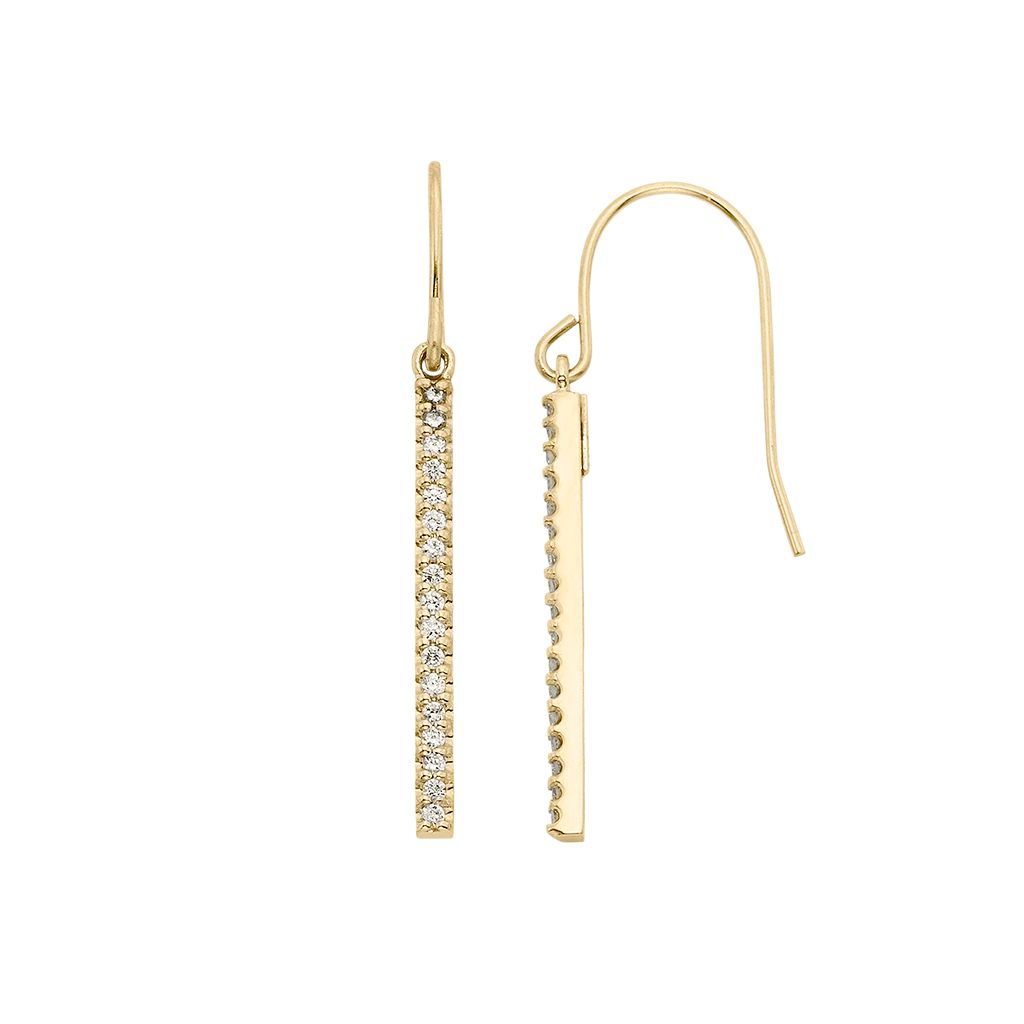 1/4 Carat T.W. Diamond 10k Gold Stick Drop Earrings