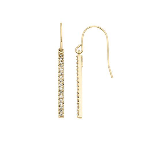 1/4 Carat T.W. Diamond 10k Gold Stick Drop Earrings