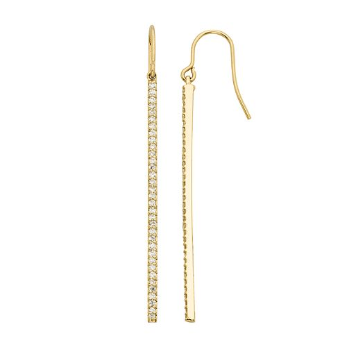 1 Carat T.W. Diamond 14k Gold Stick Drop Earrings