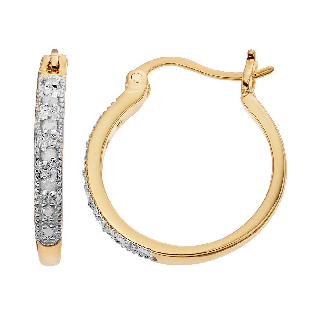 Diamond Classics 18k Gold Over Silver 1/10 Carat T.W. Diamond Hoop Earrings