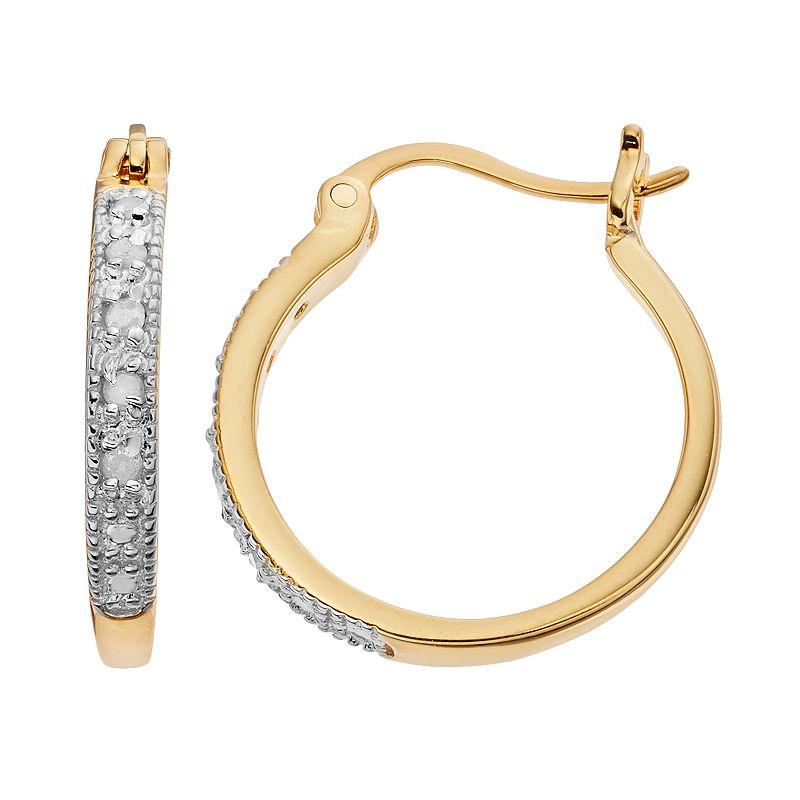 Diamond Classics 18k Gold Over Silver 1/10 Carat T.W. Diamond Hoop Earrings, Women's, White
