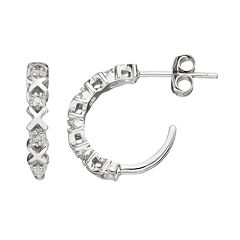 Diamond Classics Sterling Silver 1/10 Carat T.W. Diamond XO Hoop Earrings