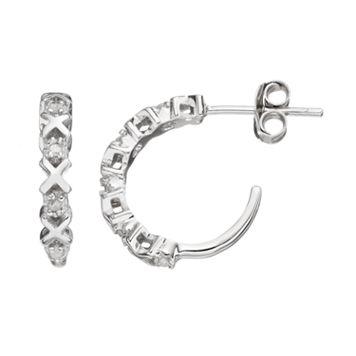 Diamond Classics Sterling Silver 1/10 Carat T.W. Diamond XO Hoop Earrings