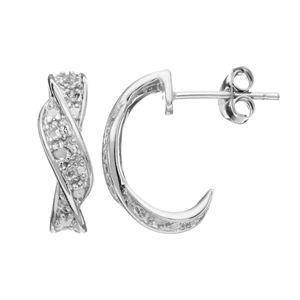 Primrose Sterling Silver Twisted Rope Hoop Earrings