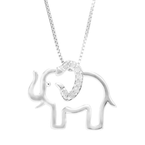 Diamond Classics Sterling Silver 1/10 Carat T.W. Diamond Elephant Pendant