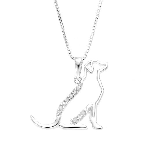 Diamond Classics Sterling Silver 1/10 Carat T.W. Diamond Dog Pendant