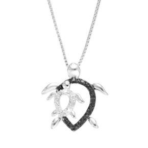 Diamond Classics Sterling Silver 1/10 Carat T.W. Black & White Diamond Turtle Pendant