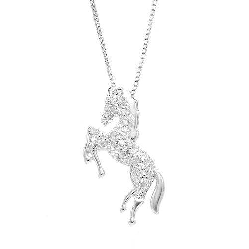 Diamond classics sterling silver 110 carat tw diamond horse pendant aloadofball Choice Image