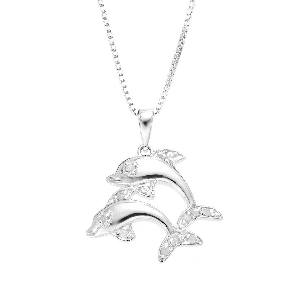 Diamond Classics Sterling Silver 1/10 Carat T.W. Diamond Dolphin Pendant