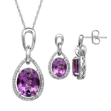 Amethyst & 1/3 Carat T.W. Diamond Sterling Silver Teardrop Halo Pendant Necklace & Drop Earring Set
