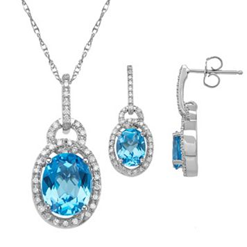 Blue Topaz & 1/3 Carat T.W. Diamond Sterling Silver Oval Halo Pendant Necklace & Drop Earring Set