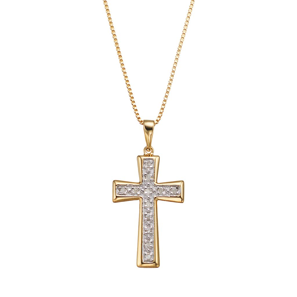 Diamond Classics 18k Gold Over Silver 1/10 Carat T.W. Cross Pendant