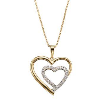 Diamond Classics 18k Gold Over Silver 1/10 Carat T.W. Heart Pendant