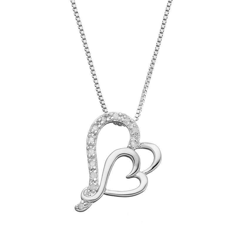 "Diamond Classics Sterling Silver 1/10 Carat T.W. Diamond Heart Pendant, Women's, Size: 18"", White"