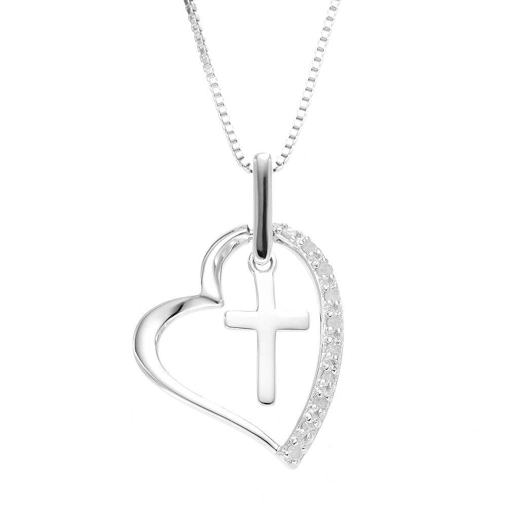 Diamond Classics Sterling Silver 1/10 Carat T.W. Cross & Heart Pendant