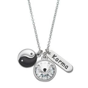 "Charming Inspirations ""Karma"" & Yin-Yang Charm Necklace"