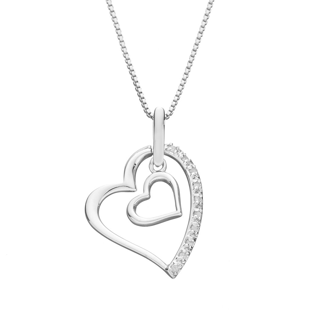 Diamond Classics Sterling Silver 1/10 Carat T.W. Double Heart Pendant