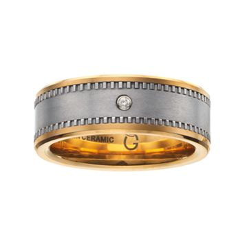 Diamond Accent Stainless Steel & Yellow Ceramic Band - Men