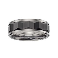 Stainless Steel & Black Ceramic Geometric Band - Men