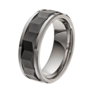 Stainless Steel & Black Ceramic Geometric Band - Men