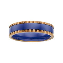 Yellow Ion-Plated Stainless Steel & Blue Ceramic Band - Men