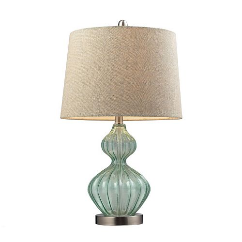 Dimond LED Pale Green Smoked Glass Table Lamp