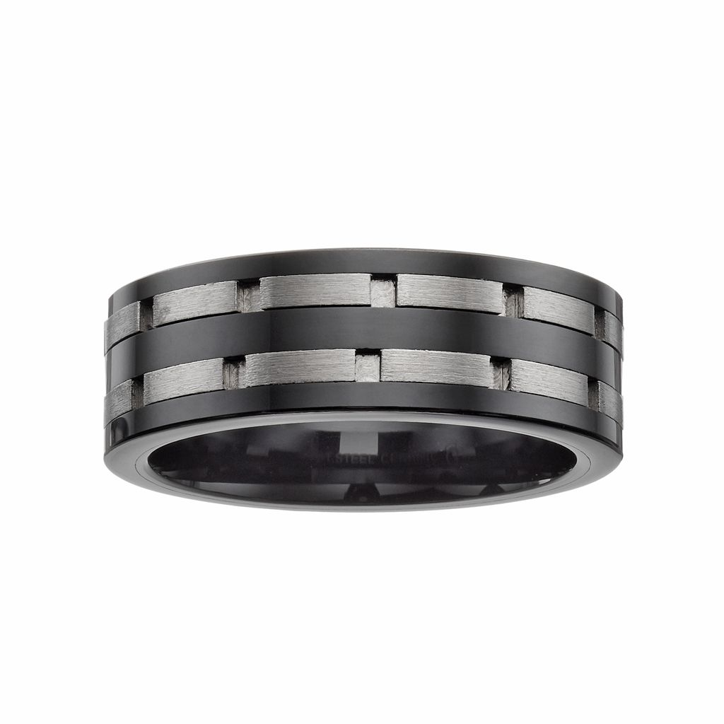 Stainless Steel & Black Ceramic Double Brick Band - Men
