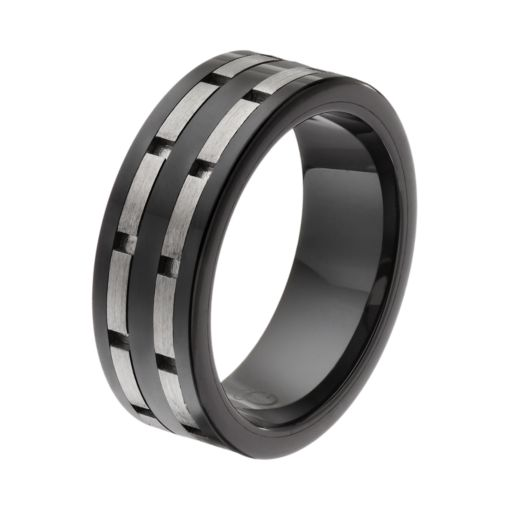 Stainless Steel & Black Ceramic Double Brick Band - Men