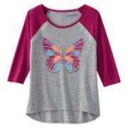 Mudd® Crochet High-Low Raglan Graphic Tee - Girls 7-16 & Girls' Plus