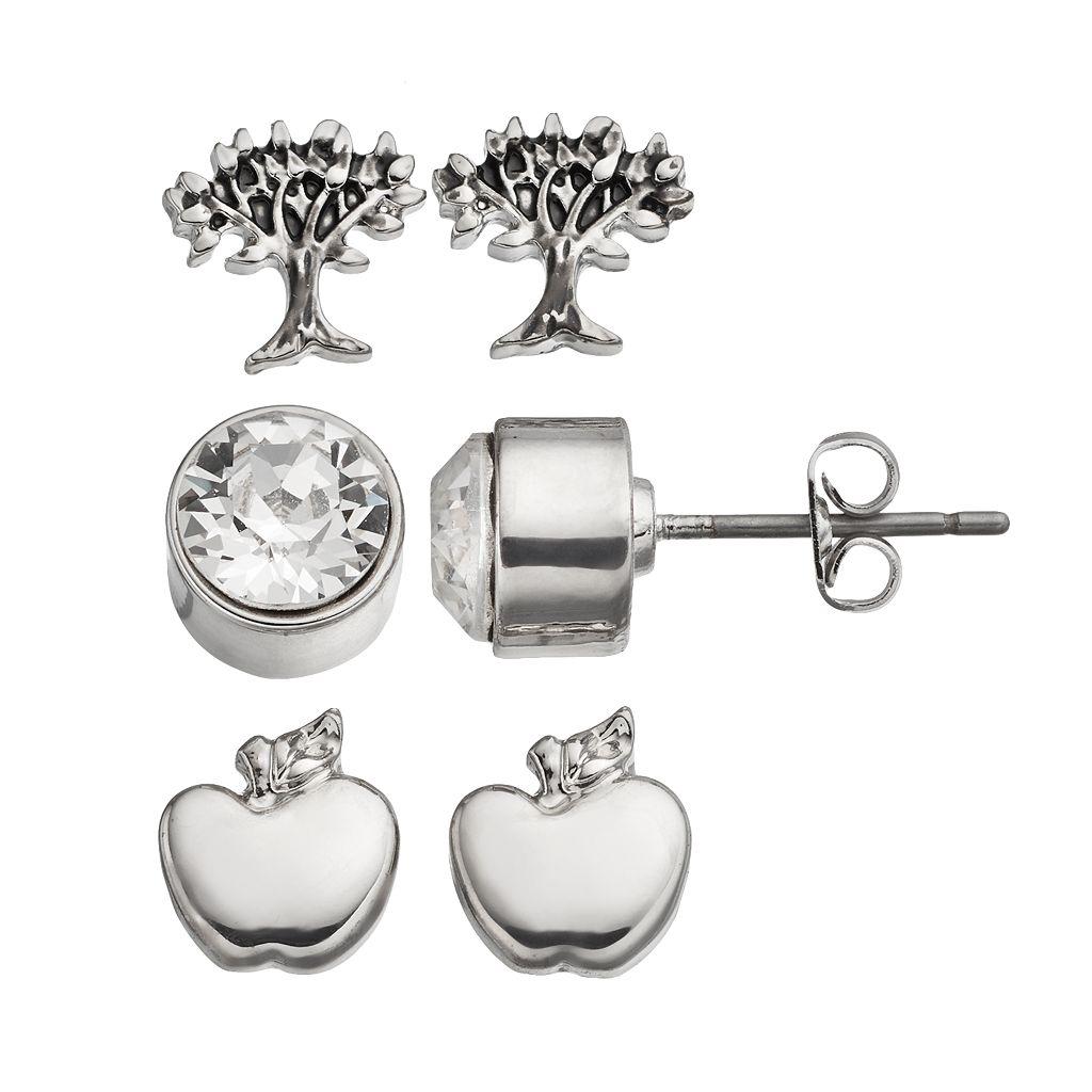 Charming Inspirations Apple & Tree Stud Earring Set